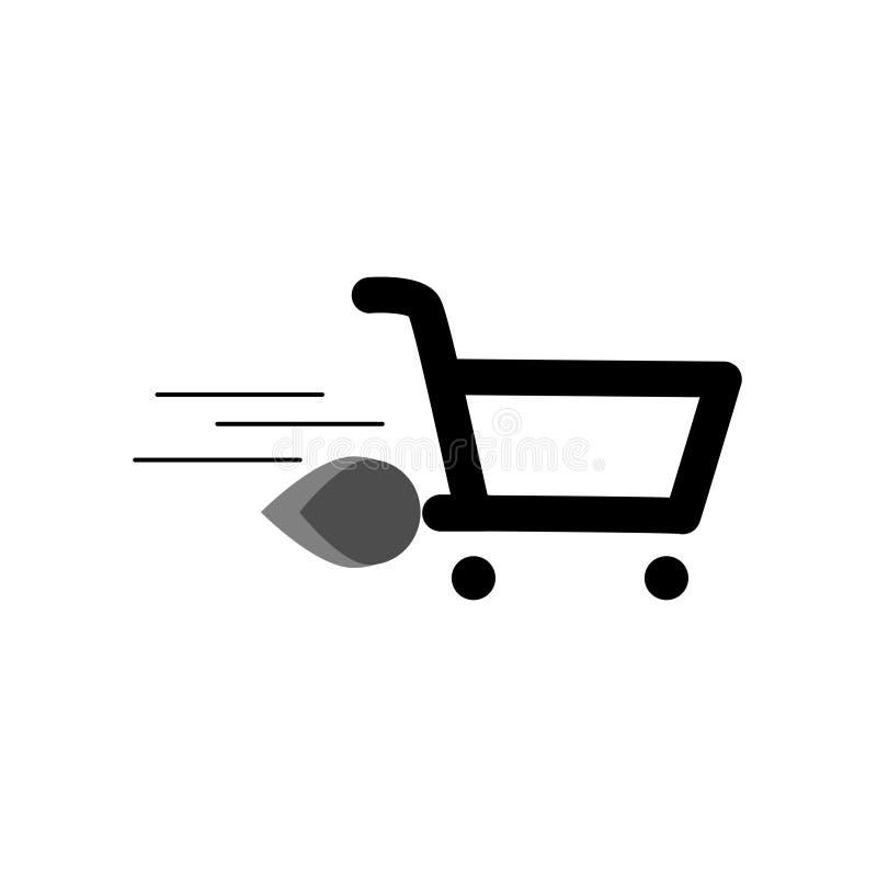 icône de fond vide de noir de chariot du marché illustration libre de droits