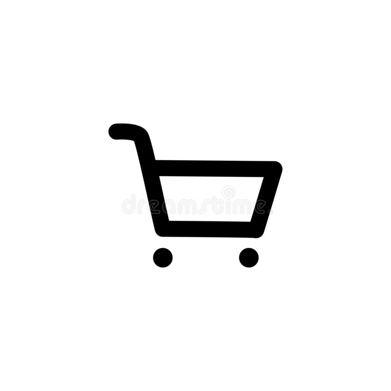 icône de fond vide de noir de chariot du marché illustration stock