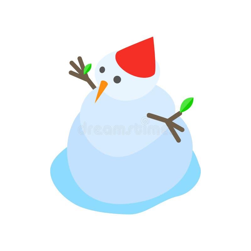 Icône de fonte de bonhomme de neige, style 3d isométrique illustration stock