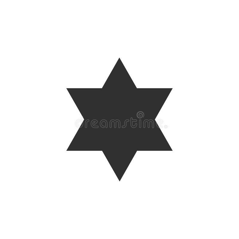 Icône de forme d'étoile de David dans la conception plate noire d'ensemble illustration stock
