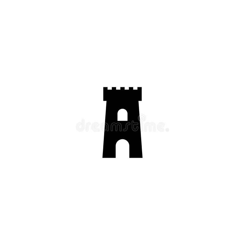 Icône de forteresse Symbole de protection Tour, la défense, château, sécurité landmark illustration libre de droits