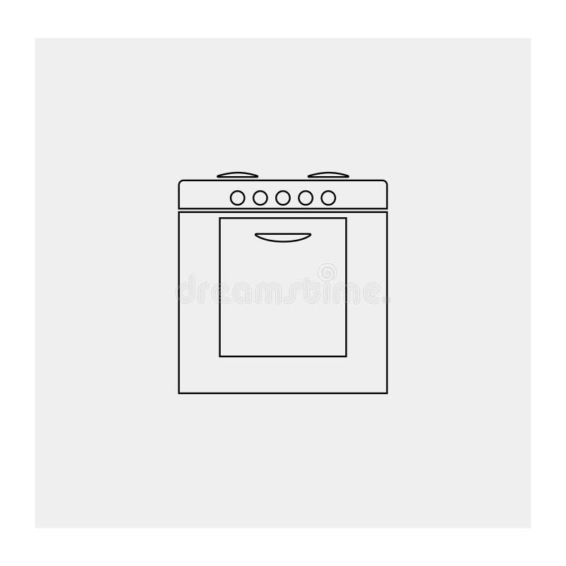 Icône de fourneau Fond gris Illustration de vecteur illustration de vecteur