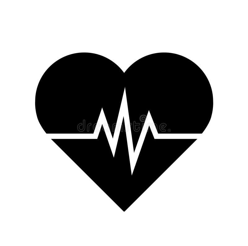 Icône de fréquence cardiaque - moniteur de santé fréquence cardiaque noire Icône de vecteur de tension artérielle illustration de vecteur