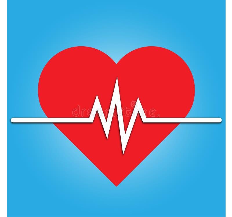Icône de fréquence cardiaque - moniteur de santé Fréquence cardiaque rouge Icône de vecteur de tension artérielle illustration de vecteur