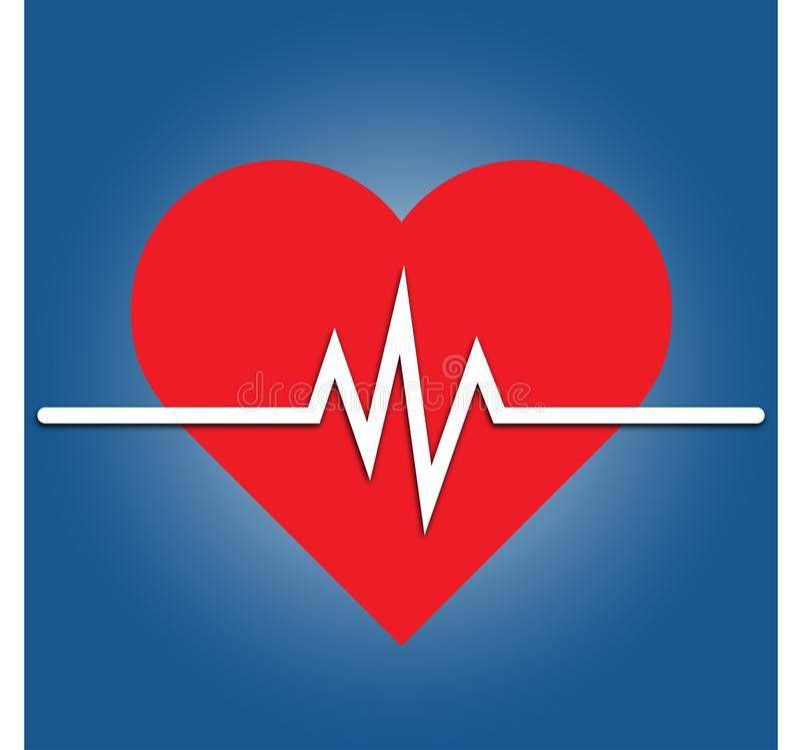 Icône de fréquence cardiaque - moniteur de santé Fréquence cardiaque rouge Icône de vecteur de tension artérielle illustration libre de droits
