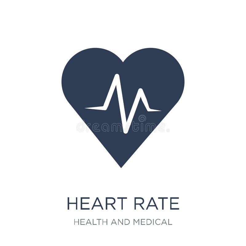 Icône de fréquence cardiaque Icône plate à la mode de fréquence cardiaque de vecteur sur le CCB blanc illustration de vecteur