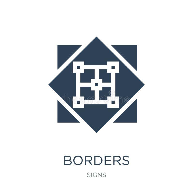 icône de frontières dans le style à la mode de conception icône de frontières d'isolement sur le fond blanc symbole plat simple e illustration stock