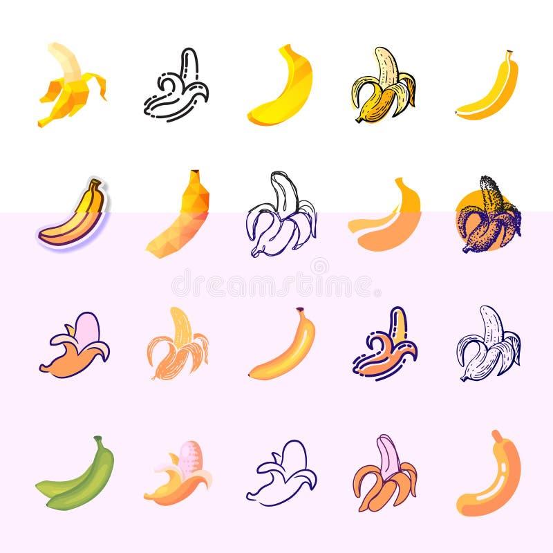 Icône de fruit tropical de jaune de vecteur de banane ou casse-croûte fruité sain d'ensemble d'illustration de régime d'aliment b illustration de vecteur