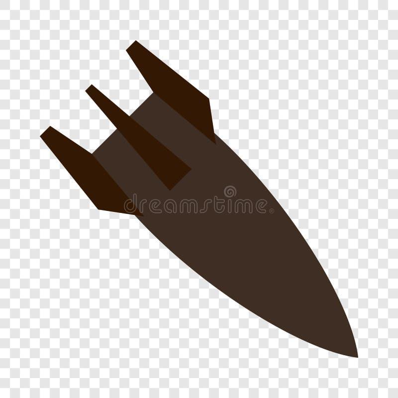 Icône de fusée de bombe d'air, style plat illustration de vecteur