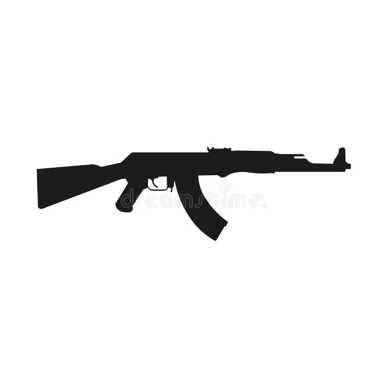 Icône de fusil d'assaut d'isolement sur le blanc Fusil d'assaut AK-47 de kalachnikov Illustration de vecteur illustration stock