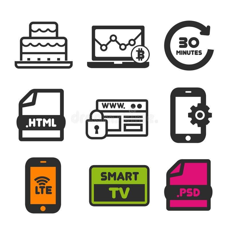 Icône de gâteau d'anniversaire Symbole futé de TV Icônes de sécurité et de Smartphone LTE de site Web Signe de statistique d'ordi illustration de vecteur