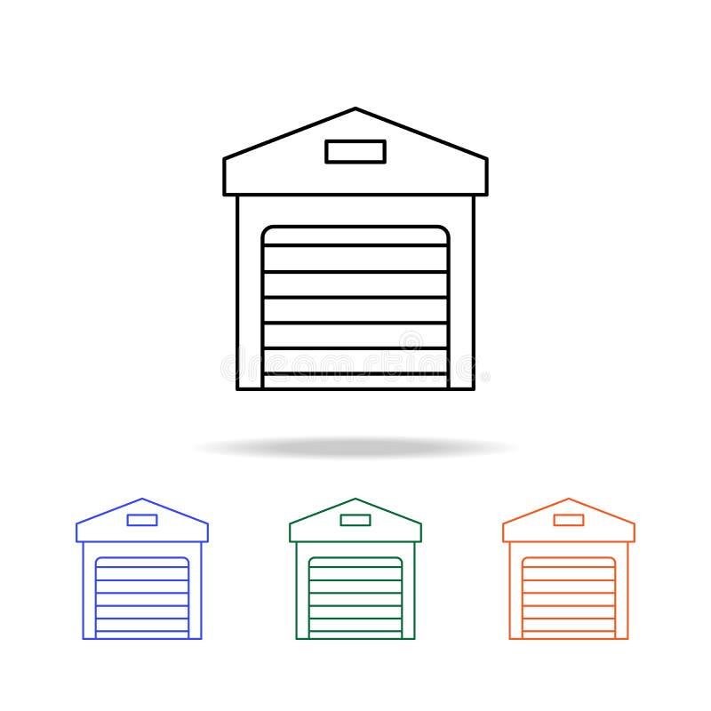Icône de garage Éléments des immobiliers dans les icônes colorées multi Icône de la meilleure qualité de conception graphique de  illustration stock