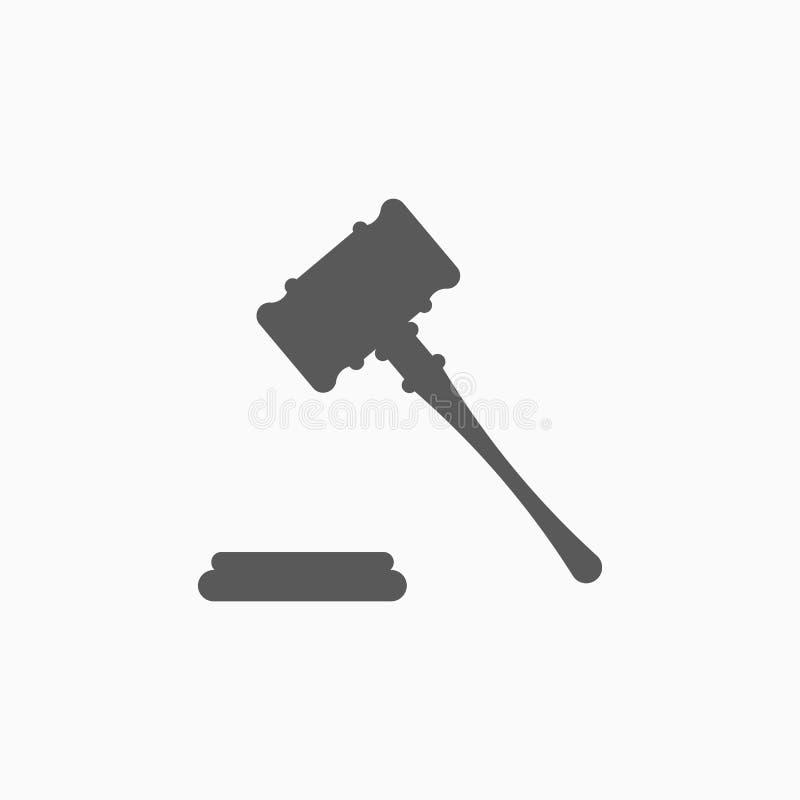 Icône de Gavel, marteau, juge, jugement, marteau de vente aux enchères illustration stock