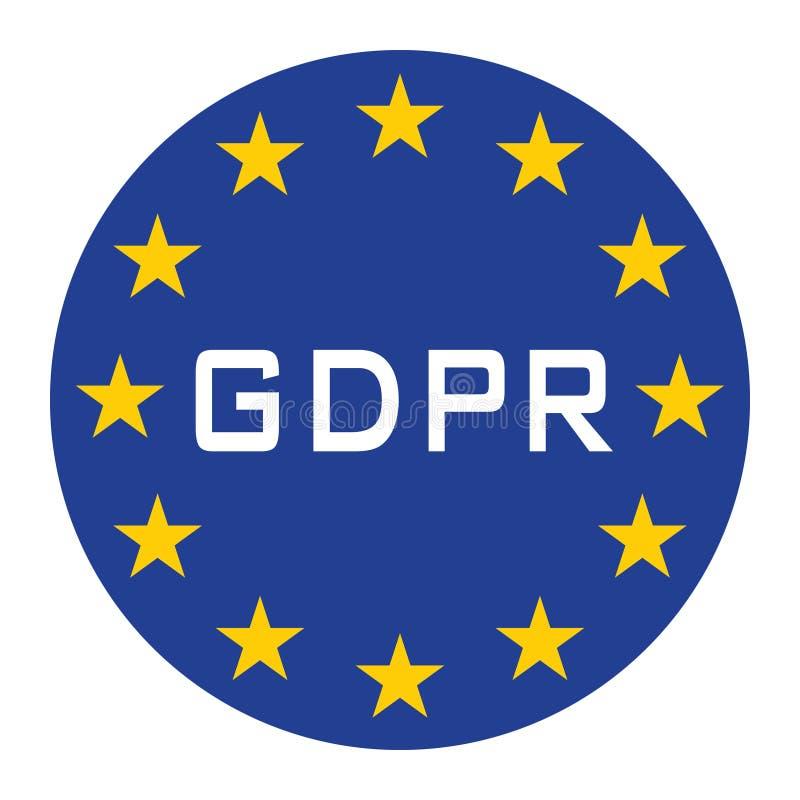 Icône de GDPR pour le Web isoler le texte blanc bleu illustration stock