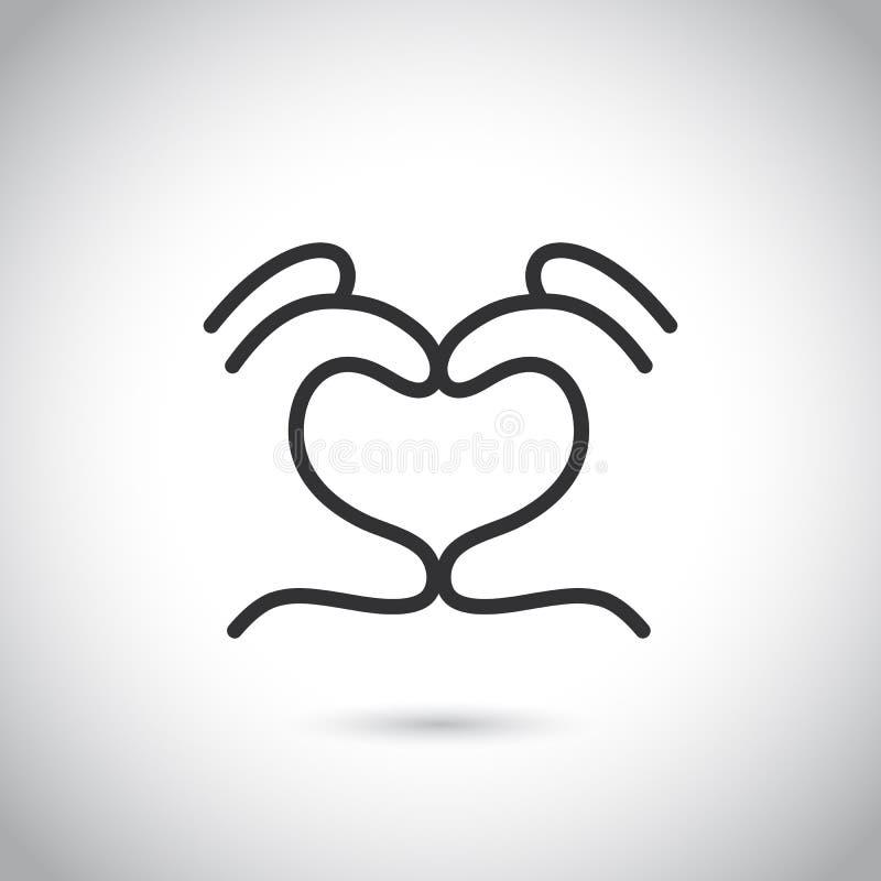 Icône de geste de main de forme de coeur Illustration au trait mince vecteur illustration stock