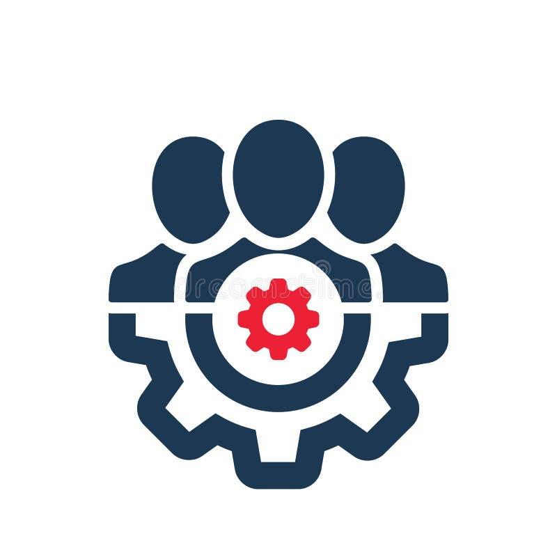Icône de gestion avec le signe d'arrangements L'icône de gestion et adaptent aux besoins du client, ont installé, contrôlent, tra illustration stock