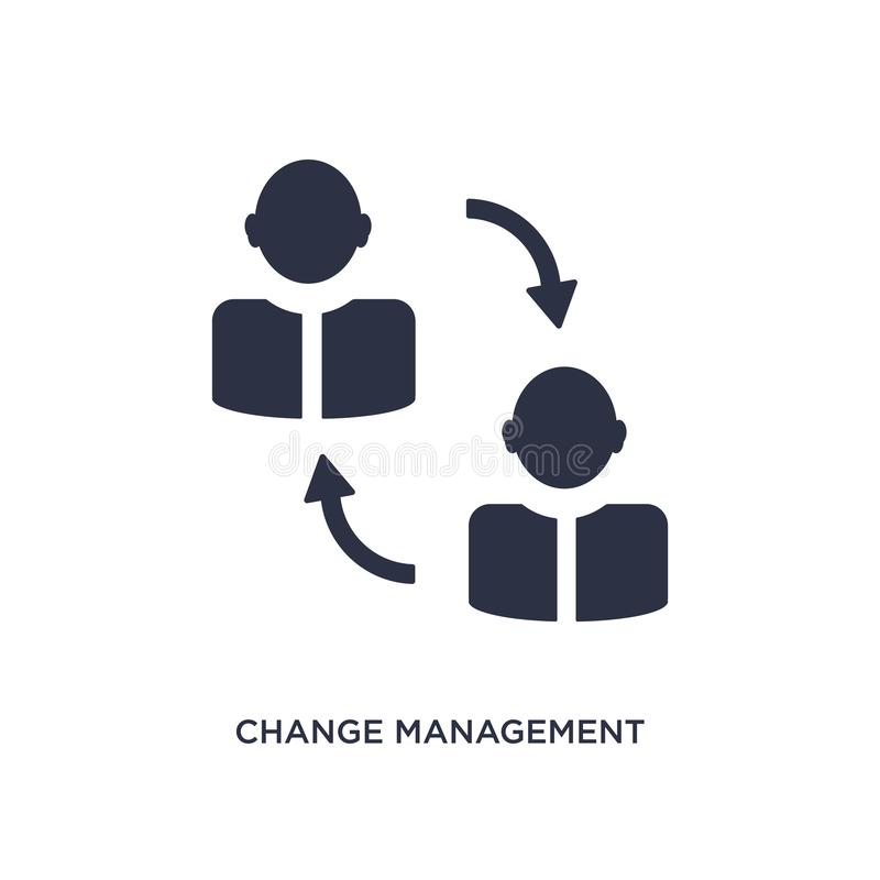 icône de gestion de changement sur le fond blanc Illustration simple d'élément de concept de ressources humaines illustration stock