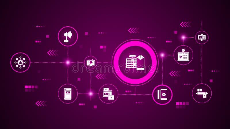 Icône de gestion des projets Du marketing de Digital, ensemble de promotion illustration libre de droits