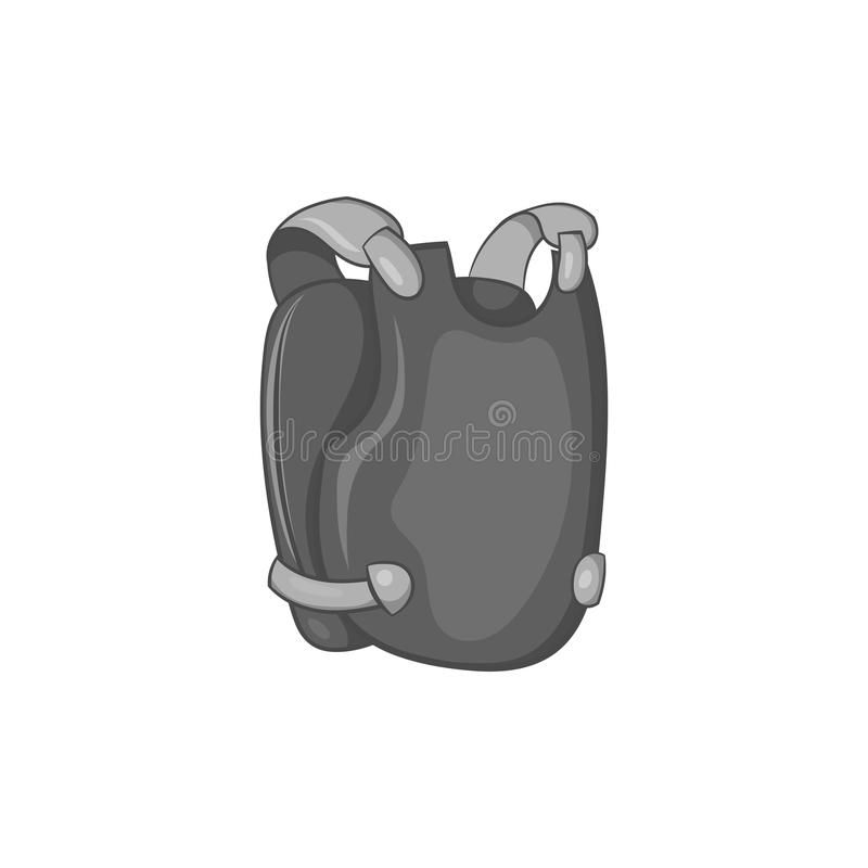 Icône de gilet de Paintball, style monochrome noir illustration de vecteur