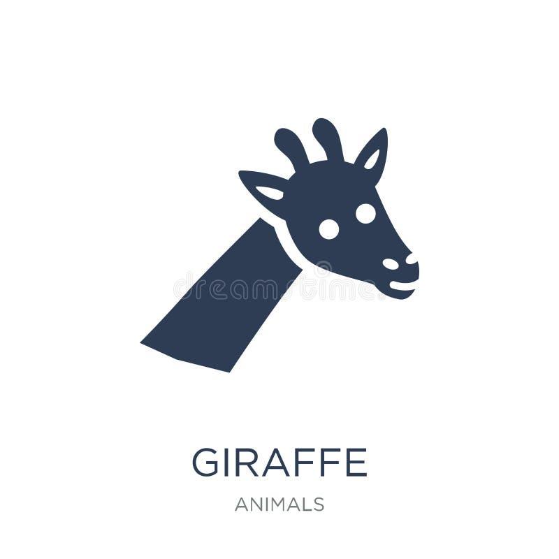 Icône de girafe Icône plate à la mode de girafe de vecteur sur le backgroun blanc illustration libre de droits