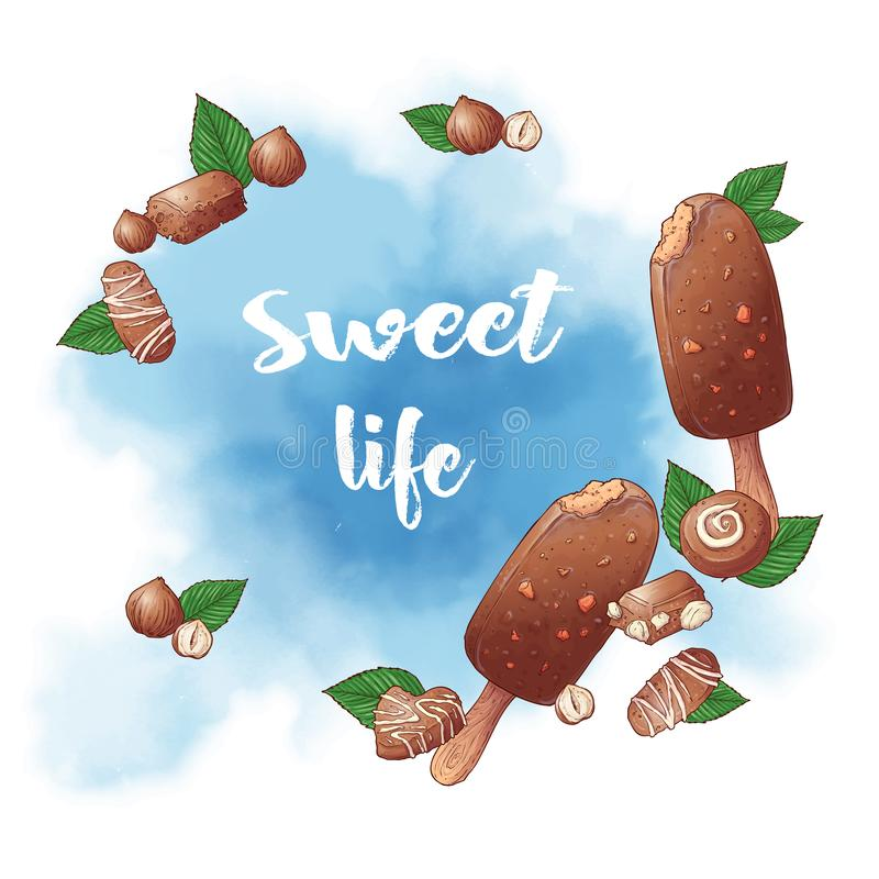 Icône de glace popsicules et logo chocolat noix fond pour les bonbons Illustration vectorielle illustration de vecteur
