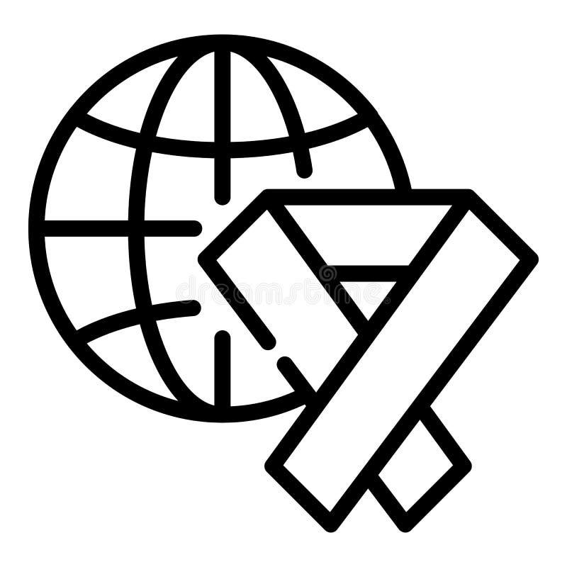 Icône de globe de charité de ruban, style d'ensemble illustration de vecteur