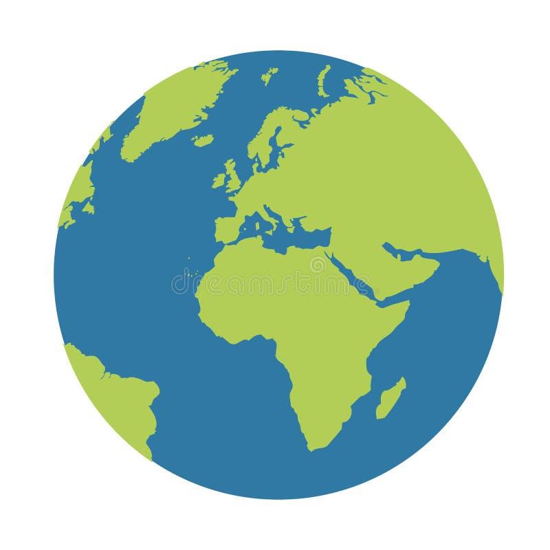 Icône de globe de la terre de planète bleue et verte illustration libre de droits