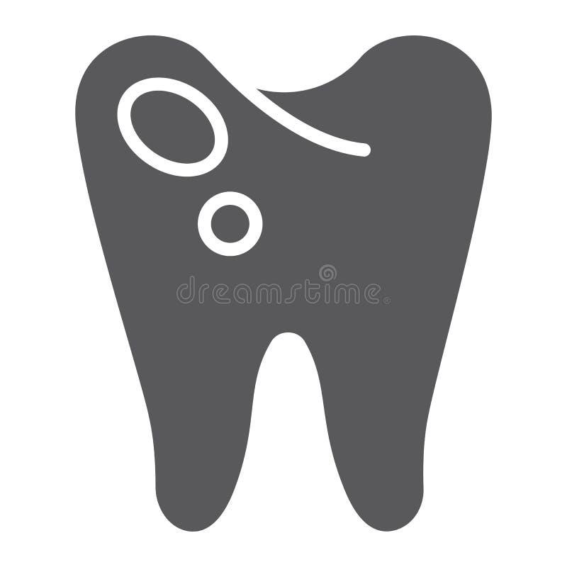 Icône de glyph de carie, art dentaire et dents, signe en difficulté de dent, graphiques de vecteur, un modèle solide sur un fond  illustration de vecteur