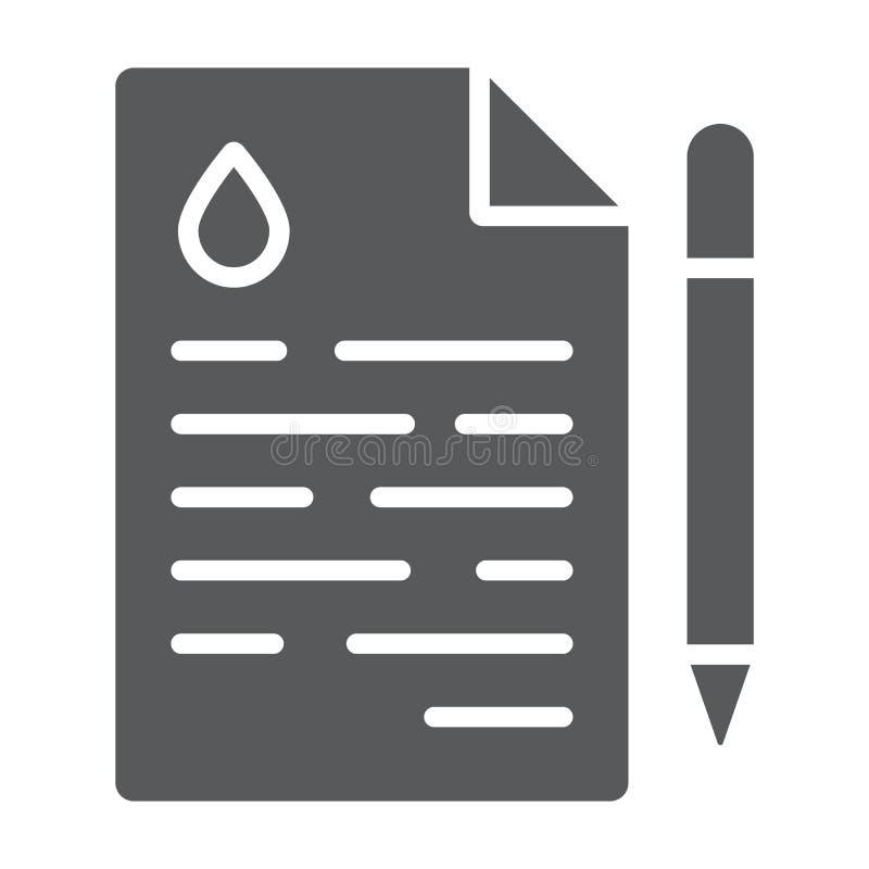 Icône de glyph de contrat d'huile, affaire et carburant, signe d'accord, graphiques de vecteur, un modèle solide sur un fond blan illustration de vecteur