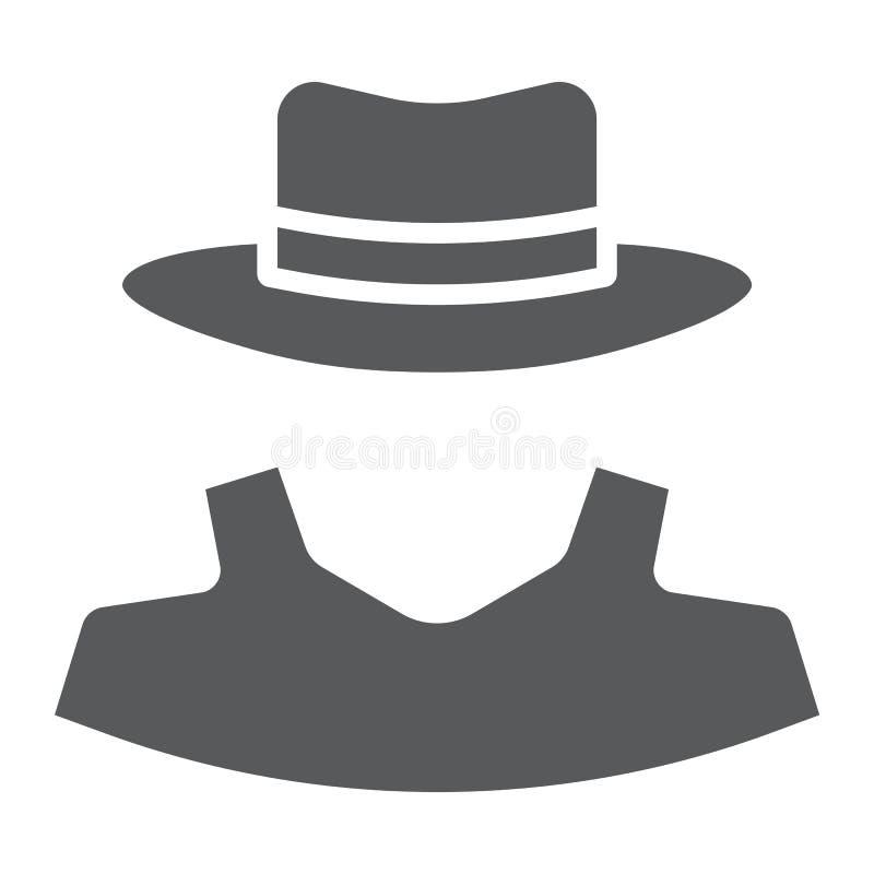 Icône de glyph d'anonymat, révélateur et privé illustration de vecteur