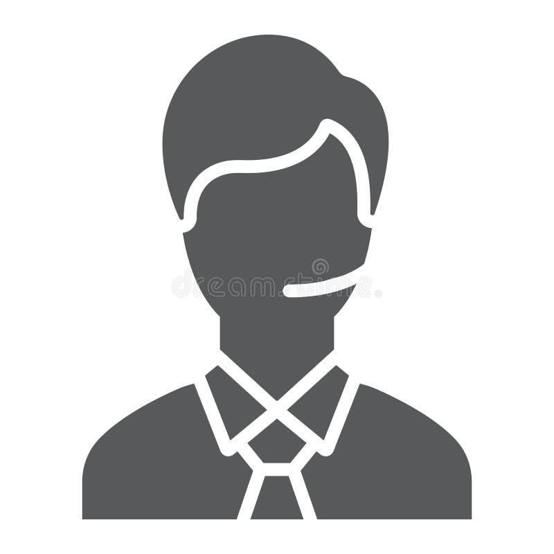 Icône de glyph d'homme de soutien, appel et communication, signe de consultation, graphiques de vecteur, un ferme modèle sur un b illustration stock