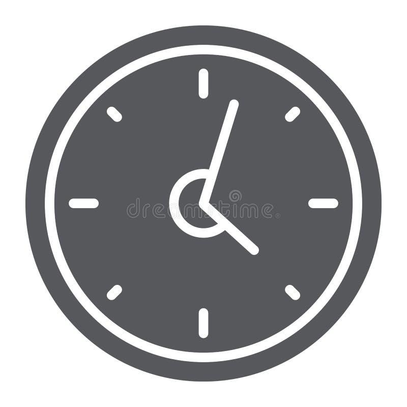 Icône de glyph d'horloge, heure et temps, signe de montre de mur, graphiques de vecteur, un modèle solide sur un fond blanc illustration stock