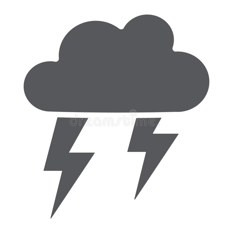 Icône de glyph d'orage, temps et prévision, signe de tempête, graphiques de vecteur, un modèle solide sur un fond blanc illustration de vecteur