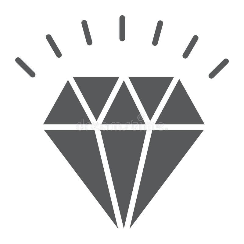 Icône de glyph de diamant, cher et de luxe illustration stock