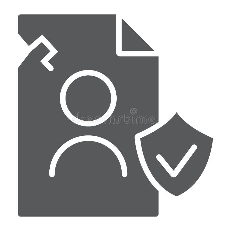 Icône de glyph de données de personall d'infraction, privée et se protéger, signe d'infraction d'intimité, graphiques de vec illustration de vecteur
