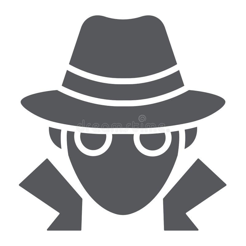 Icône de glyph de fraude, anonymat et agent, signe d'espion, graphiques de vecteur, un modèle solide sur un fond blanc illustration stock