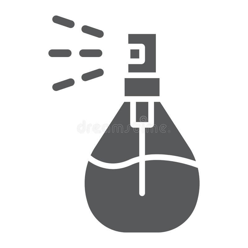 Icône de glyph de jet de Cologne, désodorisant et parfum, signe de parfum, graphiques de vecteur, un modèle solide sur un fond bl illustration libre de droits