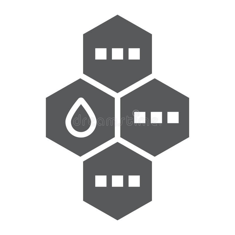 Icône de glyph de molécule d'huile, chimique et moléculaire, signe de formule d'huile, graphiques de vecteur, un modèle solide su illustration libre de droits