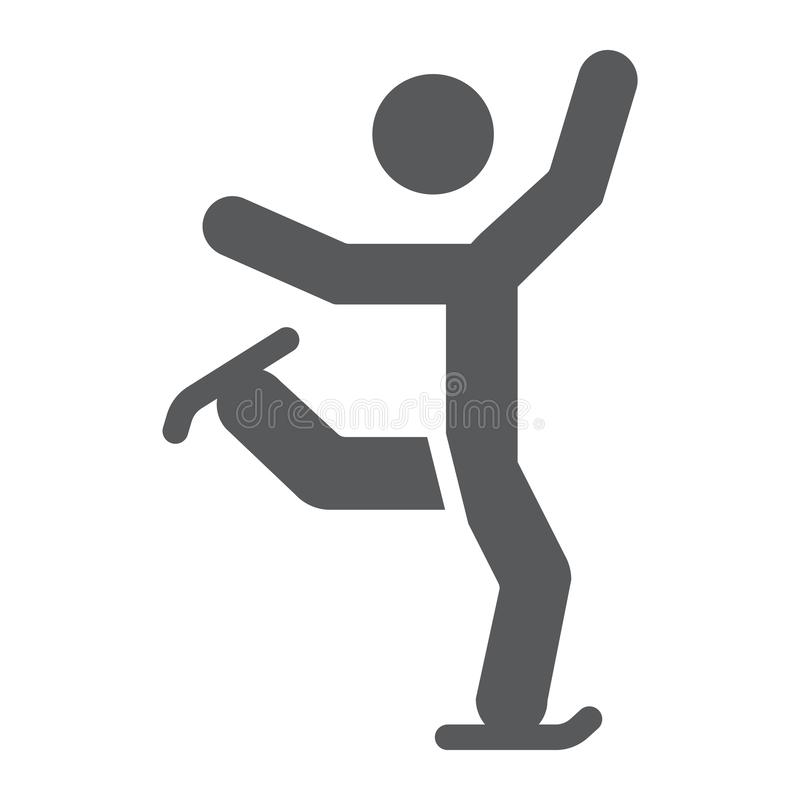 Icône de glyph de patinage artistique, sport et patin, signe de patinage de glace, graphiques de vecteur, un modèle solide sur un illustration stock