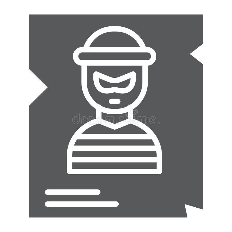 Icône de glyph, police et récompense voulues, signe d'affiche, graphiques de vecteur, un modèle solide sur un fond blanc illustration stock