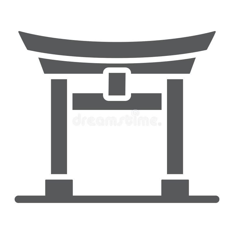 Icône de glyph de porte de Torii, le Japon et architecture, signe de porte du Japon, graphiques de vecteur, un modèle solide sur  illustration stock