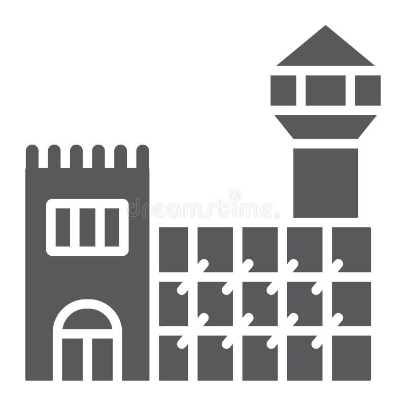 Icône de glyph de prison, cellule et arrestation, signe de prison, graphiques de vecteur, un modèle solide sur un fond blanc illustration stock