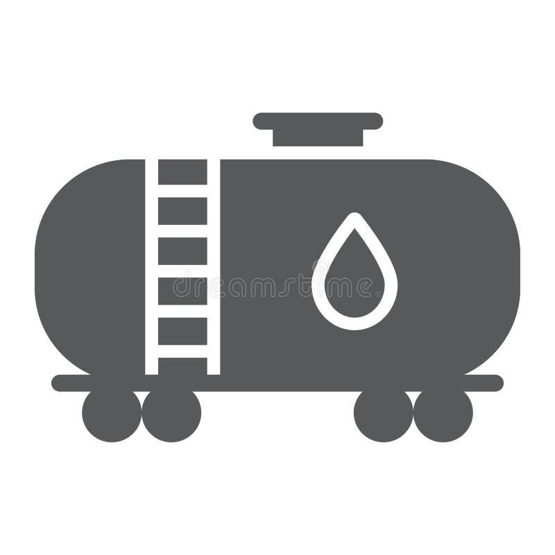 Icône de glyph de réservoir de stockage de pétrole, industy et conteneur, signe de train de carburant, graphiques de vecteur, un  illustration libre de droits