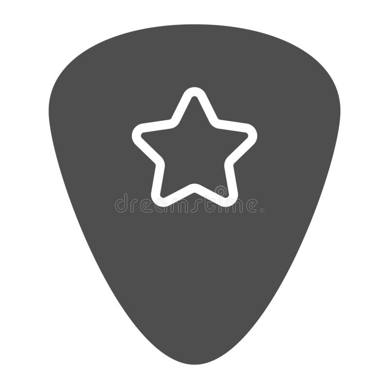 Icône de glyph de sélection de guitare, musical et plectre, signe de médiateur, graphiques de vecteur, un modèle solide sur un fo illustration libre de droits