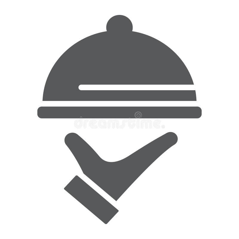 Icône de glyph de service de traiteur, hôtel et nourriture, signe de cloche de restaurant, graphiques de vecteur, un modèle solid illustration de vecteur