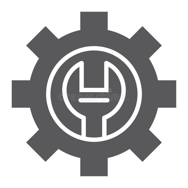 Icône de glyph de support technique, entretien et service, signe d'arrangement, graphiques de vecteur, un ferme modèle illustration libre de droits