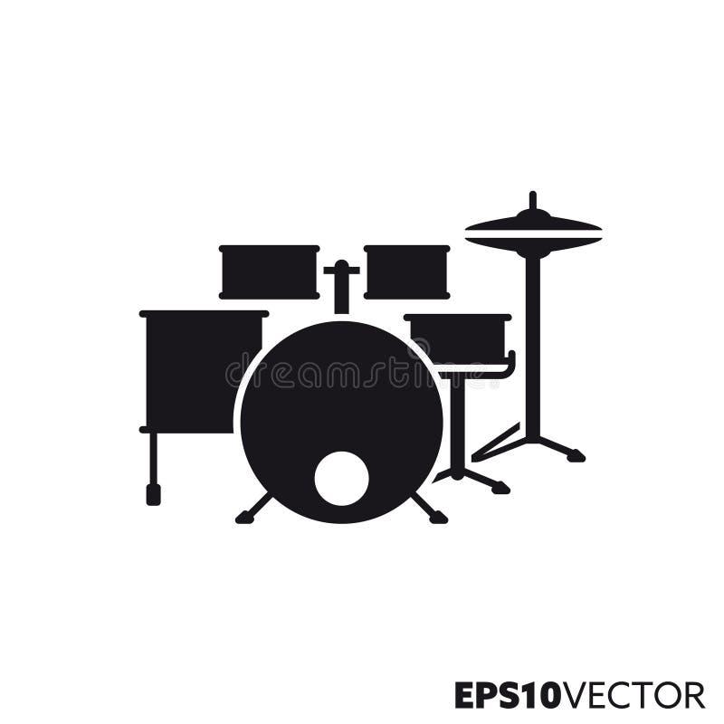Icône de glyph de vecteur de kit de tambour illustration stock
