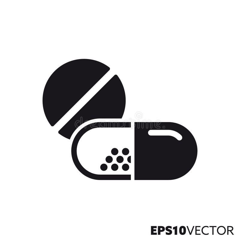 Icône de glyph de vecteur de pilule et de capsules illustration libre de droits