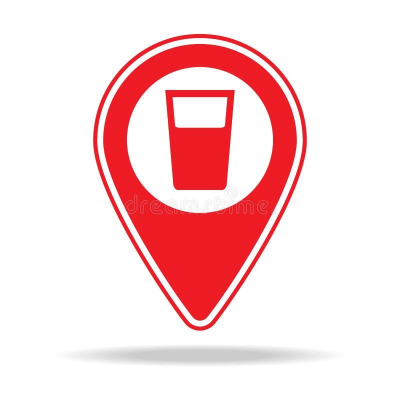 icône de goupille de carte de barre Élément d'icône d'avertissement de goupille de navigation pour les apps mobiles de concept et illustration de vecteur