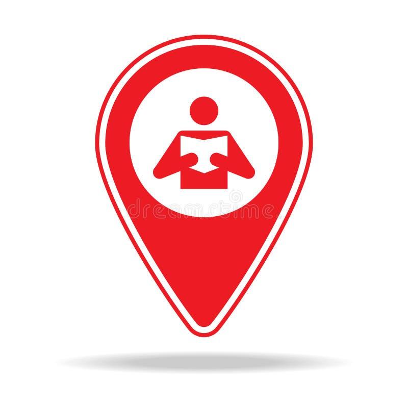 icône de goupille de carte de bibliothèque Élément d'icône d'avertissement de goupille de navigation pour les apps mobiles de con illustration de vecteur